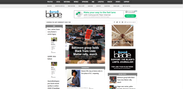 LGBTQ News Sites - Washington Blade homepage