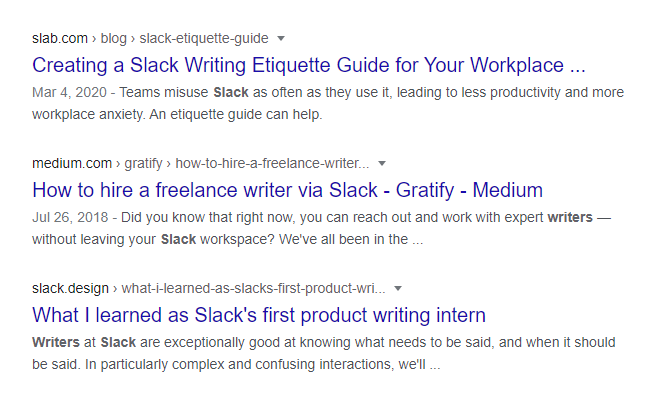 "Screenshot of Google search results for ""slack for writers"" query"