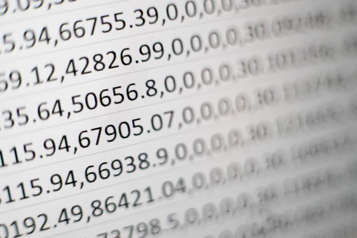 strings of numbers on a screen
