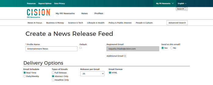 Screenshot - PR Newswire for Journalists Create a News Release Feed