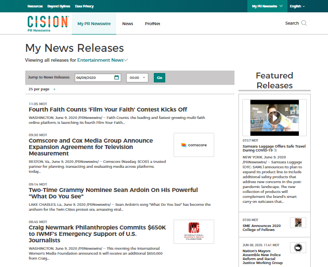 PR Newswire for Journalists - My News Releases screenshot