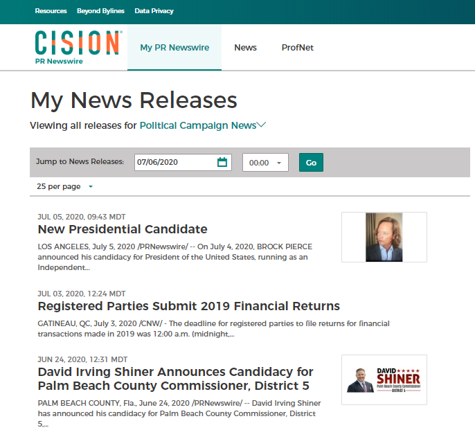 Screenshot of PR Newswire for Journalists newsfeed for political campaigns news