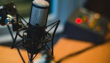 Closeup photo of a studio microphone