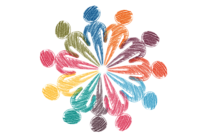 drawing of several multicolored stick figures arranged in a circle
