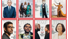screenshot of eight Time 100 covers