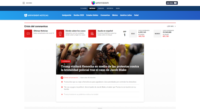 Univision Noticias website