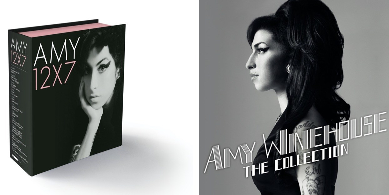 Two pictures: on the left, the cover from the new Amy Winehouse box set; on the right, a picture of Winehouse.
