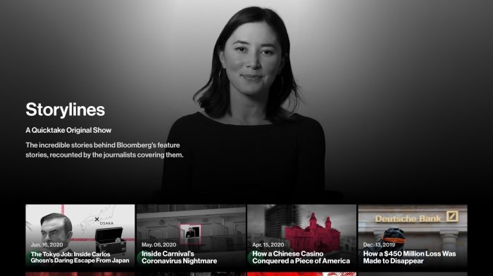 screenshot of images from Bloomberg Quicktakes' Storylines program