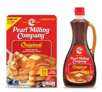 Pearl Milling Company packaging for pancake mix and syrup