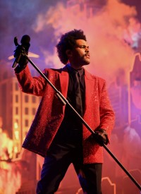 The Weeknd wearing custom outfit by Givenchy during Super Bowl LV halftime show